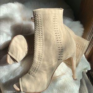 Nude peep toe sock booties - never worn